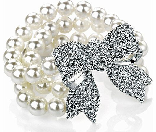 Unique Gifts On The Web Unique three row faux pearl diamante crystal stone encrusted silver plated bow womens classic bridal wear and evening wear easy fit elasticated bracelet costume jewellery.