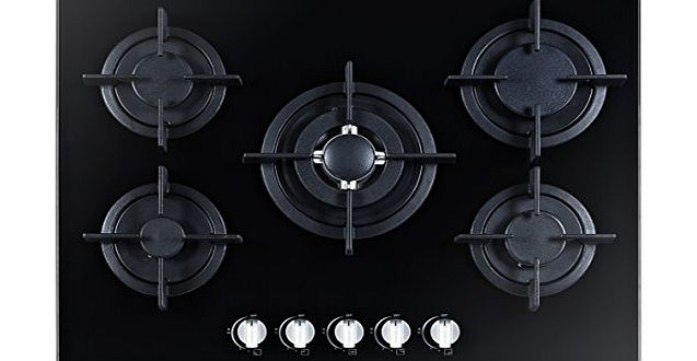 UniqueGG705-H1 700mm 5 Burner Built-in Black Ceramic Glass Gas Hob with Flame Failure Device