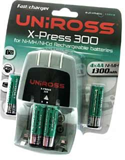UNIROSS Charger ~ 3-5 Hour ~ Supplied with 4 x AA Ni-Mh Batteries - RC101161