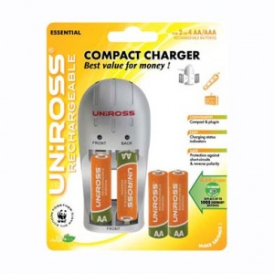Uniross Compact Charger   4 X AA Pre-Charged