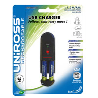 USB AA and AAA Battery Charger + Pack of