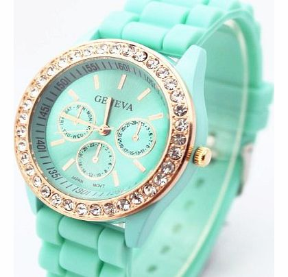Fashion Base Green New Rose Gold Diamond Quartz Silicone Jelly Watch for Women Wedding Gift