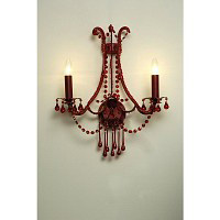 This is a stunning red wall light with red crystal droplets and candle style light bulb holders. Hei