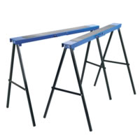 Pair of trestles for supporting large workpieces, doors, etc. Pressed steel with anti-slip mat on