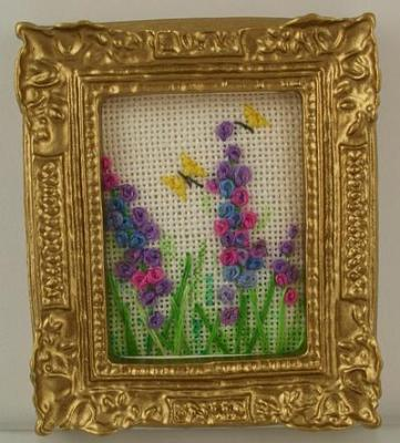 1:12 Scale Handmade Embroidered Picture of Flowers and Butterflies One Of A Kind made for me by my
