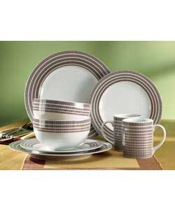 4 person 16 piece porcelain dinner set comprising 4 dinner plates, 4 rice bowls, 4 side plates and