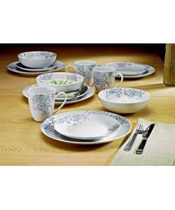 4 place settings.Porcelain.Set contains 4 dinner plates, 4 side plates, 4 bowls and 4 mugs.Dinner