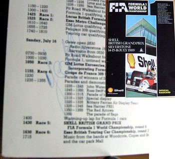 The programme race card for the 1989 British Grand Prix - signed by Ivan Cappelli. Certificate Of