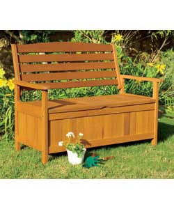 Elegant but sturdy bench with lift-up lid and unde