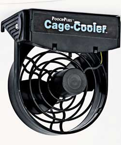 Black plastic 2 speed cage fan for cooling dog car crates, rabbit hutches or cages containing large