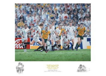 `World Cup Final 2003` by Peter Cornwell - a limited edition of 2003 prints signed by Neil Back