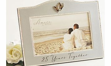 This subtle 25 Years Together Silver Wedding Anniversary 7 x 5 Photo Frame makes the perfect gift for a special couple celebrating their wonderful 25 years of marriage and for them to display a photo of the two of them from their anniversary celebrat