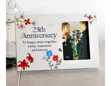 This sentiment style Silver 25th Wedding Anniversary Portrait 4 x 6 Photo Frame is the perfect gift for a special couple celebrating 25 wonderful years of marriage.The photo frame is a block style and on the front face is a cream textured finish.  Th