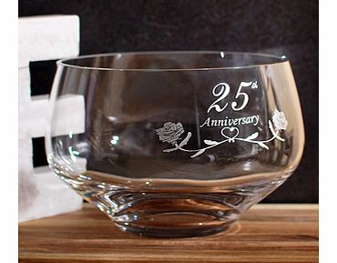 A beautiful 25th Silver Wedding Anniversary Gifts Crystal Bowl by Amador Designs and made by Dartington Crystal and their master craftsman in the UK.This stunning piece is exclusive A1Gifts and were very proud to offer this for such a special Silver