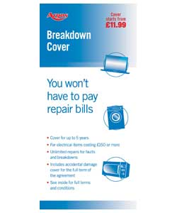 Breakdown cover from over £500.Covers breakdown of your item for up to 3 years (inclusive of the on