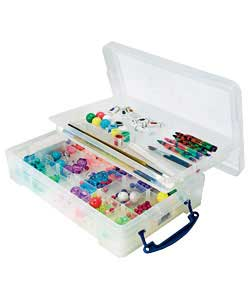 Transparent box ideal for storing A4 paper and card complete with handles, cliplock lid and 2 remova
