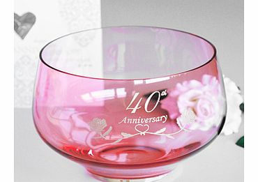 A superb 40th Ruby Wedding Anniversary Gifts Crystal Bowl by Amador Designs and made by Dartington Crystal and their master craftsman in the UK.This stunning piece is exclusive A1Gifts and were very proud to offer this for such a special occassion. T