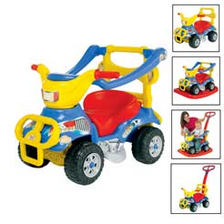 The 6 In 1 Quad can be used as:A baby walkerFoot to floor ride on with parental push handleFoot to