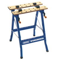 Portable workbench with dual clamping action and 24 holes for work clamping dogs. Folds flat for