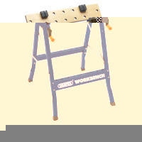Portable workbench with dual clamping action and 24 holes for work clamping dogs. Special tilting