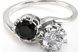 Made with a black diamond stone and SWAROVSKI ZIRCONIA crystal, this ring offers a striking twist on a classic design. The rhodium-plated band is made with solid 925 stirling silver is a size OHighlightsBlack diamond and SWAROVSKI ZIRCONIA ring Solid