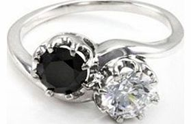 Made with a black diamond stone and SWAROVSKI ZIRCONIA crystal, this ring offers a striking twist on a classic design. The rhodium-plated band is made with solid 925 stirling silver is a size RHighlightsBlack diamond and SWAROVSKI ZIRCONIA ring Solid