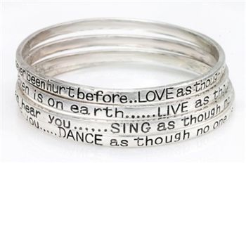 Silver-plated four-bangle setMotivational phrase included on each bangleComes with a gift pouchThis set of silver-plated bangles bears the phrases Dance as though no one is watching you, Love as though you have never been hurt before, Sing as though