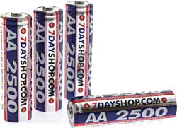 7dayshop Rechargeable Ni-Mh - AA Size (2500mAh) - Pack of 4 with FREE Case - BRAND NEW !