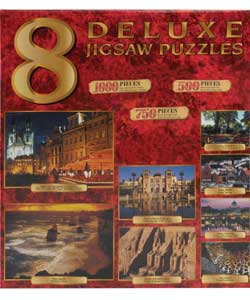 Bumper pack of deluxe jigsaw puzzles offering two 1000 piece puzzles, two 750 piece puzzles and