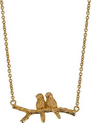This 9ct Gold Plated Sterling Silver Bird on Branch Necklace is cute and quirky. It can be worn during the day right through to the evening and goes with almost any outfit. You could even reflect the lovebirds shown and give it to that special someon