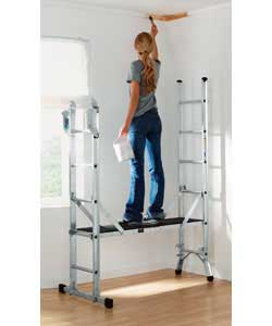 Maximum safe working load 150kg/23.6st.Weight 16.4kg.Stepladder top rung height 1.56m.Extension ladd