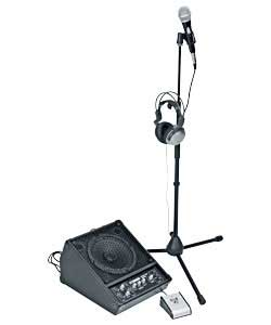 Stage styled 100W wedge amplifier.2 x guitar inputs.2 x mic inputs.Distortion foot pedal.Microphone.