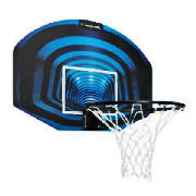 Basketball backboard, ring and net set with 46cm ring. Suitable for indoor use. Fixings included.