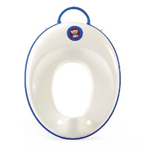 Baby Bjorn toilet trainer seat in white and blue.