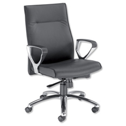 Alsace Manager ArmchairSynchro-TiltSeat WxDxH: 500x480x410mmBackrest Height: 830mmBlack Leather
