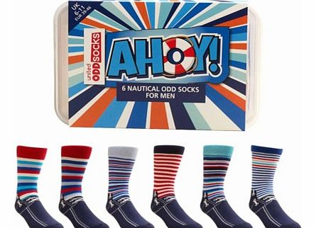 Ahoy! Stripy Nautical Theme oddsocks.Ahoy there, fancy wearing some colourful, stripy, funky odd socks on your feet? Well now you can with a box of Ahoy! Nautical Style Odd Socks for Men.The set contains six completely unique odd socks, all designed