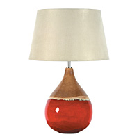 Unbranded AI324/264 14 IV - Tall Red and Tan Ceramic Table Lamp