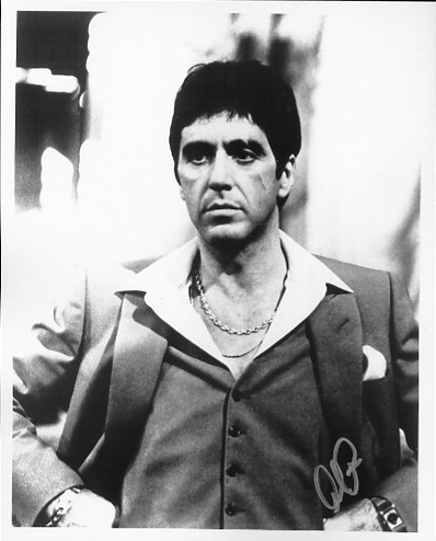Black and white photograph signed by Al Pacino in silver pen. Certificate Of Authenticity no