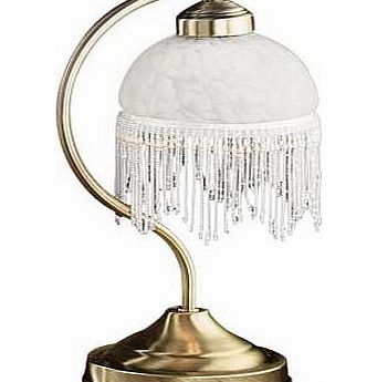 Create the traditional look with this Alabama table lamp featuring an antique brass finish. marble glass shade and a beaded fringe. Size H37cm. Touch sensor switch. Bulbs required 1 x 30W SES eco halogen or 1 x 40W SES golf ball (not included). EAN:
