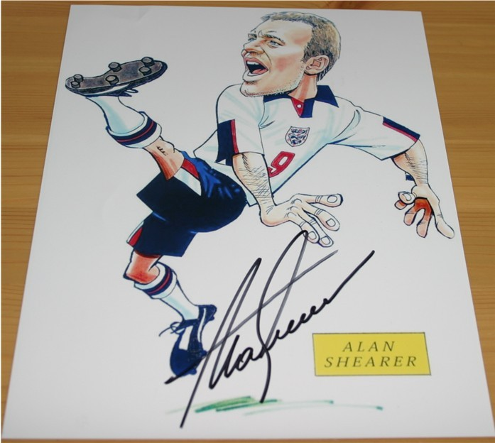 This is a quality caricature which has been signed by former England striker Alan Shearer in black
