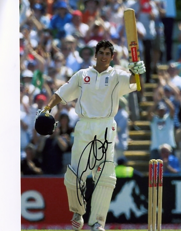 Signed in black pen by England`s new star batsman - pictured here celebrating a century against