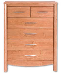 Cherry finish with curved edging. 6 drawers with s