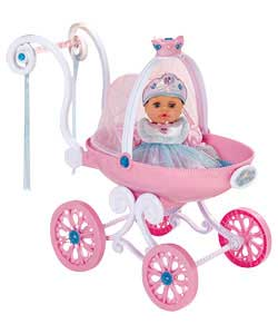 Real spinning wheels and a glittery canopy top. Push the carriage along and watch the tiara on top