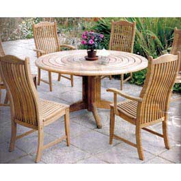 The Alexander Rose Bengal Round Pedestal Table is made from Teak. This traditional hardwood is perfe