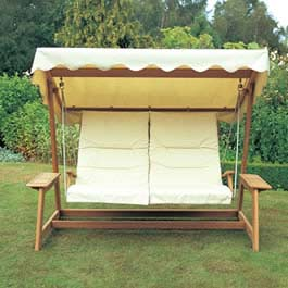 The Alexander Rose Bengal Teak Swing Seat  incorporates shaped back rails and a contoured seat provi