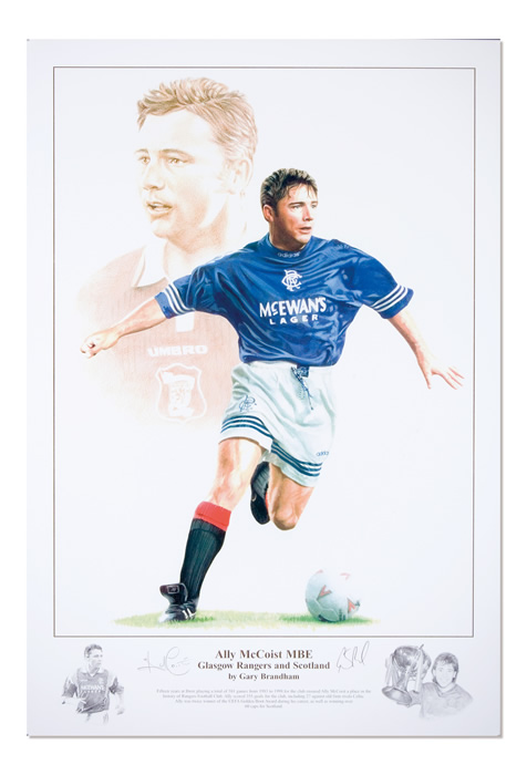 `Ally McCoist` by Gary Brandham - a limited edition of 500 prints signed by Ally McCoist and Gary