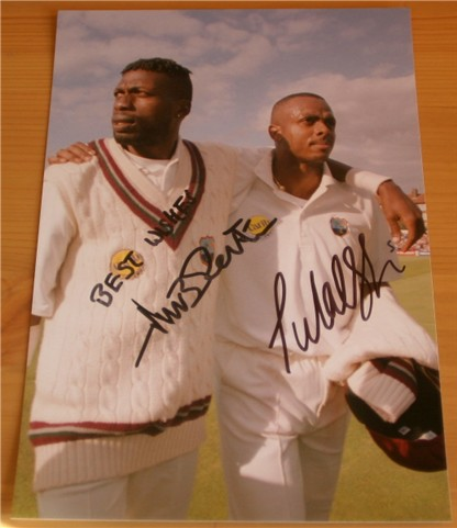 Signed in black pen by the West Indian legends Courtney Walsh and Curtley Ambrose  measuring 9 x 6