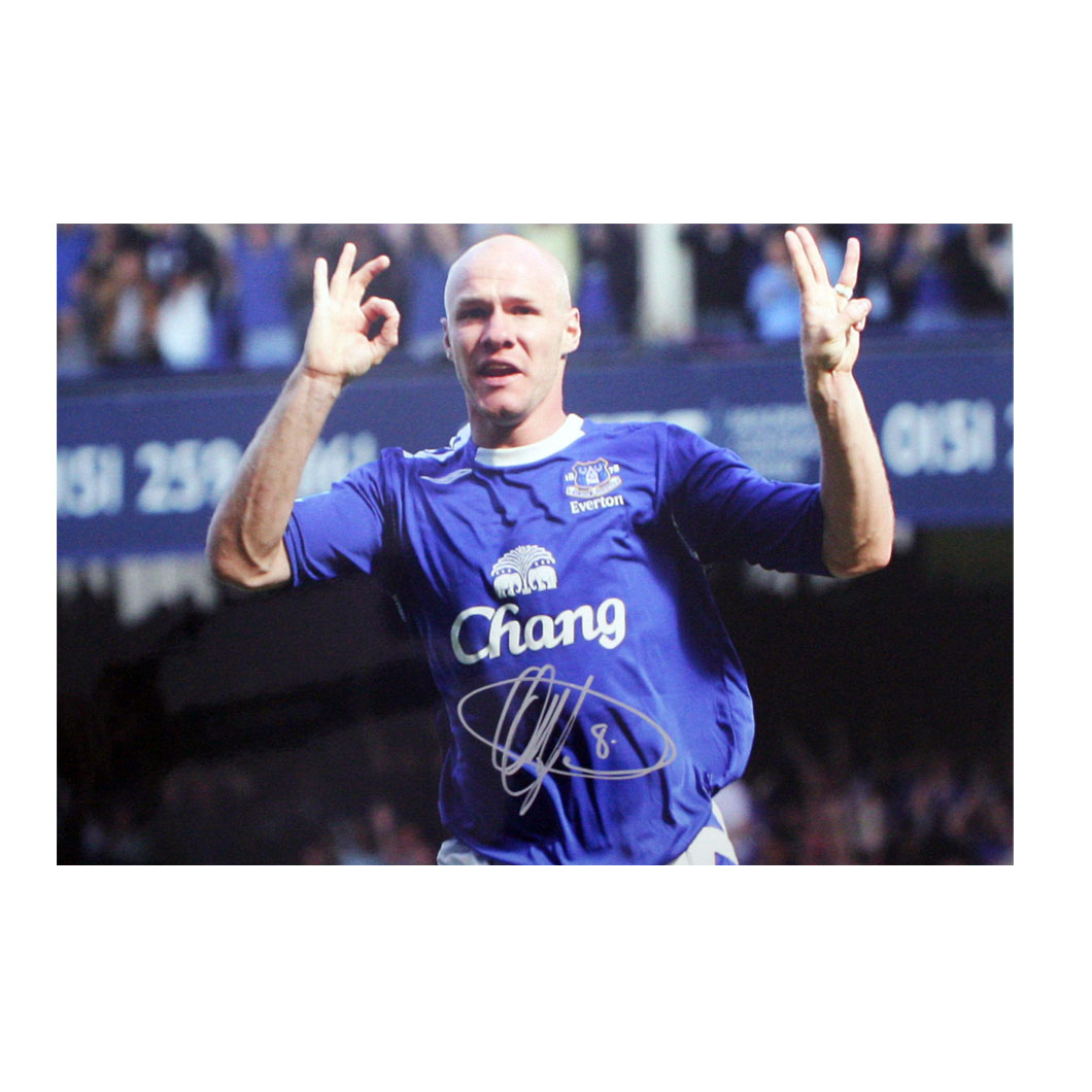 This photograph shows Andy Johnson celebrating his second goal in Everton