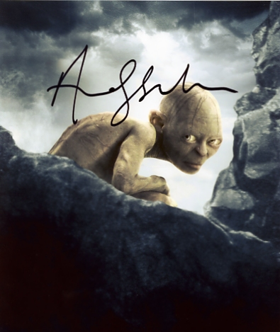 Superb signed photo of Andy Serkis as Gollum in The Lord of the Rings. Signed in black pen