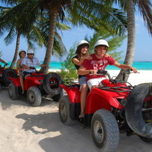 This exciting tour combines a relaxing catamaran cruise to a spectacular coral reef, snorkelling and an exciting ATV (quadbike) ride through the Mayan jungle before concluding with an adventure back in the water aboard a high speed Wave Runner.